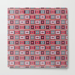 Vintage red teal white abstract beaded pattern Metal Print