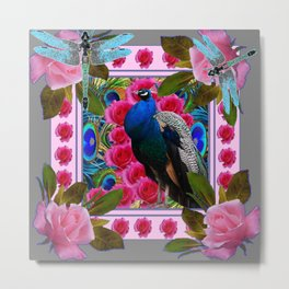 BLUE DRAGONFLIES PEACOCK & PINK ROSES ART Metal Print