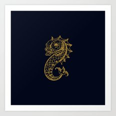 The gold seahorse- Navy blue maritime print with gold ornament Art Print