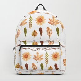 Modern yellow orange green brown fall leaves floral stripes Backpack