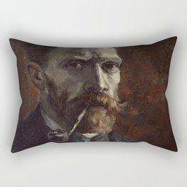 Vincent van Gogh - Self-Portrait with Pipe Rectangular Pillow
