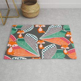 Summer fun with foxes and leaves Rug