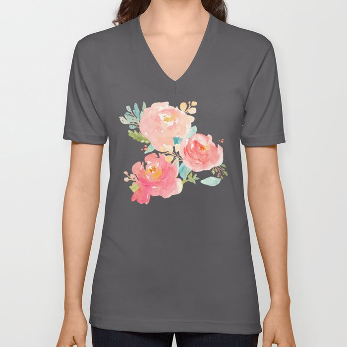 Watercolor Peonies Summer Bouquet Unisex V-Ausschnitt