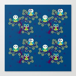 Smaller Wide awake owls on a blue night Canvas Print