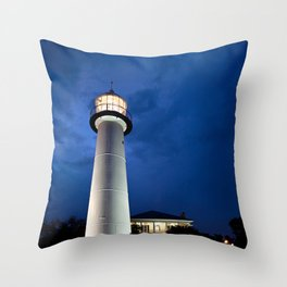 Biloxi Lighthouse and Visitors Center Throw Pillow
