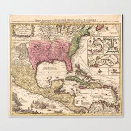 Mappa Geographica Regionem Mexicanam et Floridam (1740) Canvas Print
