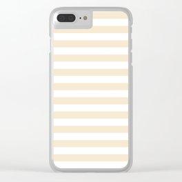 Narrow Horizontal Stripes - White and Champagne Orange Clear iPhone Case