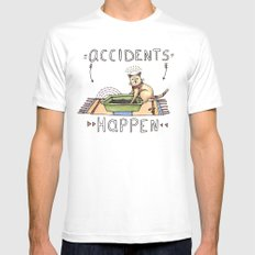 Accidents Happen White Mens Fitted Tee MEDIUM