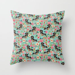 Dachshund dapple coat dog breed floral pattern must have doxie gifts dachsies Throw Pillow