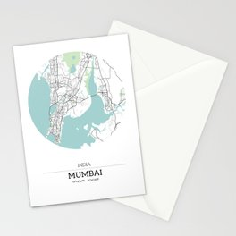 Mumbai India City Map with GPS Coordinates Stationery Cards