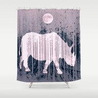 french Shower Curtains featuring French horn by Laake-Photos