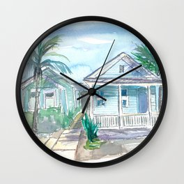 Key West Conch Dream House-Blue and Pastel Homes Wall Clock