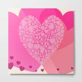 Pink and Red Hearts Metal Print