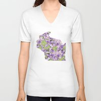 wisconsin V-neck T-shirts featuring Wisconsin in Flowers by Ursula Rodgers