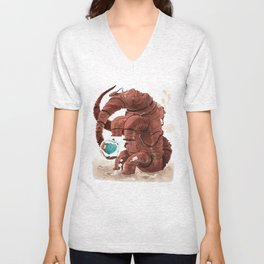 Space Brontosaurus  Unisex V-Neck