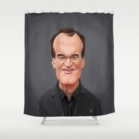 tarantino Shower Curtains featuring Celebrity Sunday ~ Quentin Tarantino by rob art | illustration