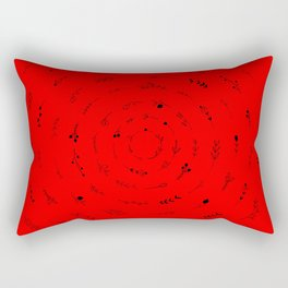 Minimalist Spring Floral Cyclone (Black on Red) Rectangular Pillow