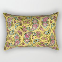 Pink and Blue Glass Paisley  on gold Rectangular Pillow