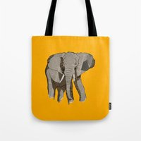 newspaper Tote Bags featuring Newspaper Elephant by Doolin