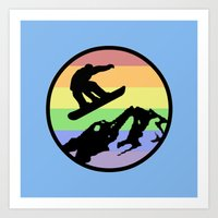 snowboarding Art Prints featuring snowboarding 2 by Paul Simms
