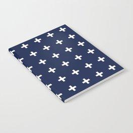 Navy Blue Swiss Cross Minimal Notebook