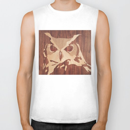Owl marquetry art picture Biker Tank