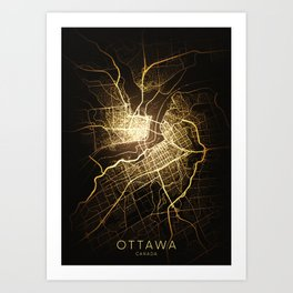 ottawa Canada city night light map Art Print