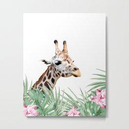 Giraffe, Tropical leaves and flowers, Animal, Nursery, Trendy decor, Interior Art Print Metal Print