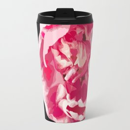 Pink Tulip Flower On A Black Background #decor #society6 #homedecor Travel Mug