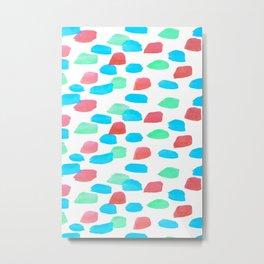 3 Color Watercolor Dash Line  Metal Print