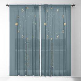 Raining Moon Phases Sheer Curtain