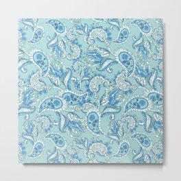 Blue Paisley Metal Print