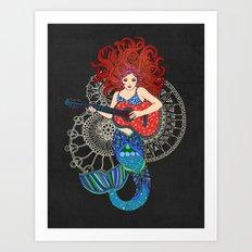 Musical Mermaid Art Print