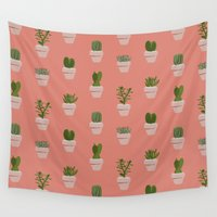polkadot Wall Tapestries featuring Cacti & Succulents by Vicky Webb