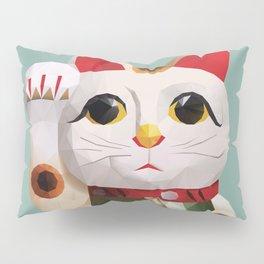Maneki Neko (Fortune Cat) Polygon Art Pillow Sham