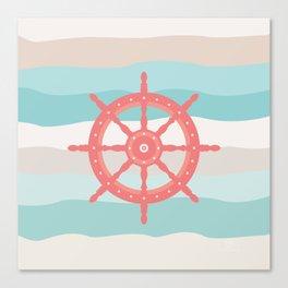 AFE Coral Helm Wheel, Nautical Art Canvas Print