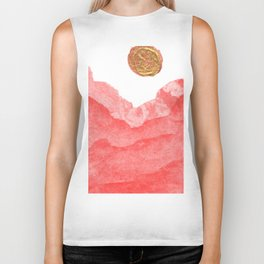 Red watercolor abstract mountains and moon Biker Tank