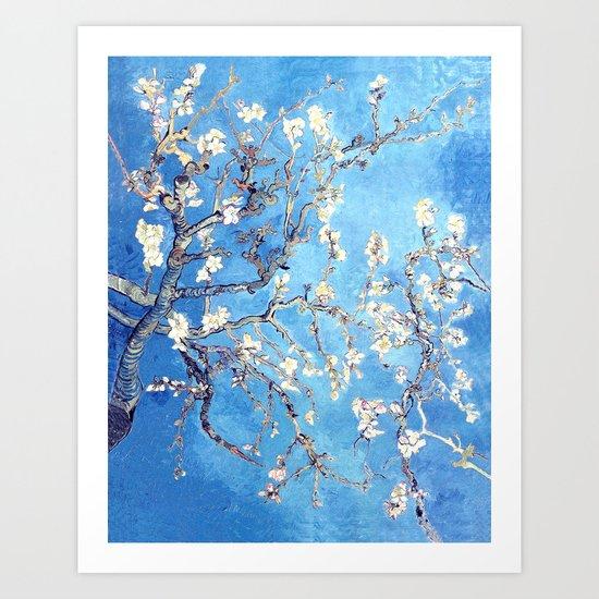 Vincent Van Gogh Almond Blossoms. Turquoise Art Print