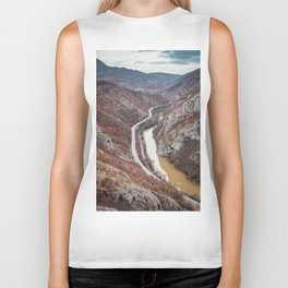 Beautiful picture of the canyon in Serbia. Dramatic sky and mountains Biker Tank