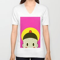 poker V-neck T-shirts featuring Poker Face by Cyborgking