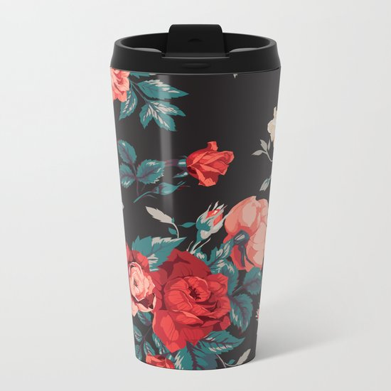 Vintage Flowers Metal Travel Mug