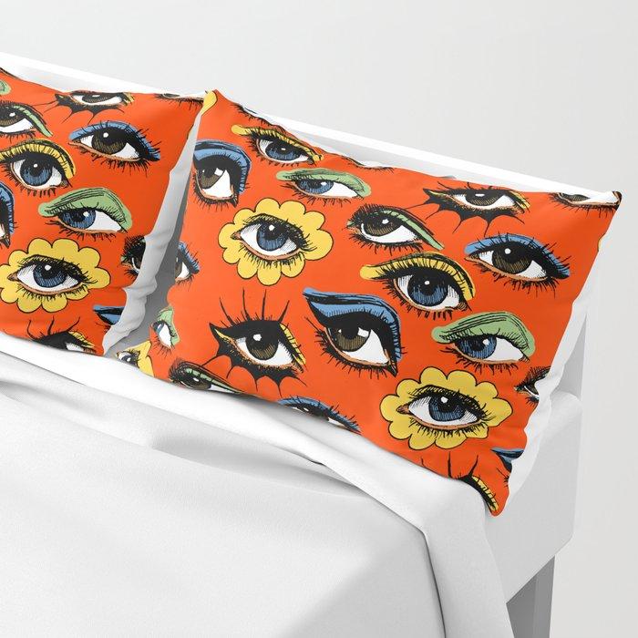60s Eye Pattern Pillow Sham