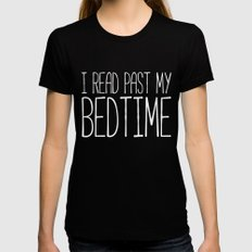 I read past my bedtime - Black and white Womens Fitted Tee Black LARGE