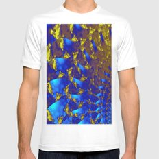 Fractal. White Mens Fitted Tee LARGE