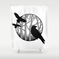 Black Birds II Shower Curtain