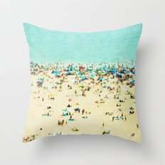 Coney Island Beach Throw Pillow