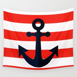 Simple anchor on red Wall Tapestry