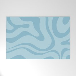 Light Aqua Blue Liquid Swirl Abstract Pattern Square Welcome Mat