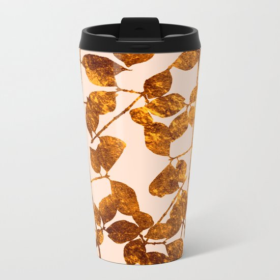 fall golden leaves Metal Travel Mug