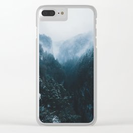 Foggy Forest Mountain Valley - Landscape Photography Clear iPhone Case